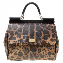 78014c9cf81c00 Dolce & Gabbana Brown/Black Leopard Print Coated Canvas Large Miss Sicily  Top Handle Bag