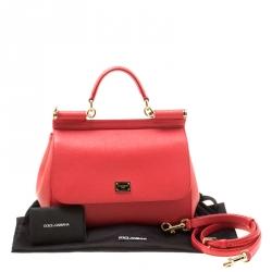 Dolce & Gabbana Red Leather Medium Miss Sicily Top Handle Bag