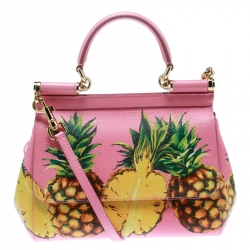 0ae7ab9424df Dolce and Gabbana Pink Pineapple Print Leather Small Miss Sicily Top Handle  Bag