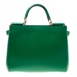 Dolce and Gabbana Green Leather Medium Miss Sicily Top Handle Bag