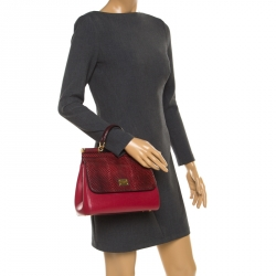 5fea4189a99 Dolce and Gabbana Red Leather and Python Medium Miss Sicily Top Handle Bag
