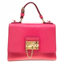 3ef6d162feb Dolce & Gabbana Pink Coral Lizard Embossed Leather Small Miss Monica Top  Handle Bag