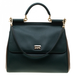 6f8355c7bcce Dolce and Gabbana Dark Green Brown Leather Large Miss Sicily Top Hande Bag
