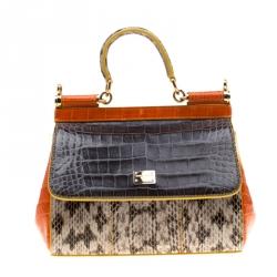 66759fa4275 Dolce and Gabbana Multicolor Python and Crocodile Leather Small Miss Sicily  Tote