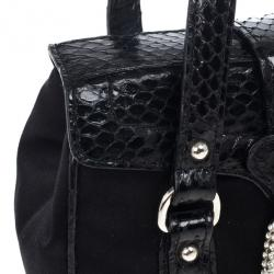 Dolce and Gabbana Snake Skin Leather and Satin Evening Satchel