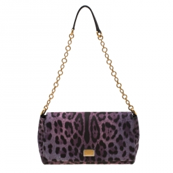 666bf46b01c Dolce and Gabbana Purple Leopard Print Canvas and Leather Flap Shoulder Bag