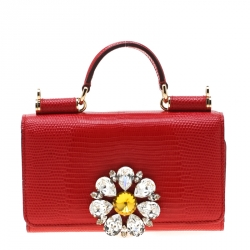 Dolce and Gabbana Red Lizard Embossed Leather Crystal Embellished Sicily Von Smartphone Bag