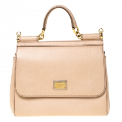 Dolce and Gabbana Beige Leather Medium Miss Sicily Top Handle Bag