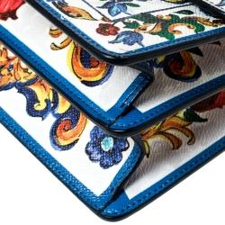 Dolce and Gabbana Majolica Print Leather Small Rosalia Flap Shoulder Bag