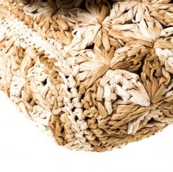 Dolce and Gabbana Beige Raffia Miss Charles Flap Shoulder Bag