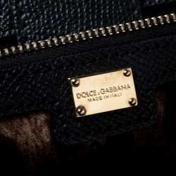 Dolce and Gabbana Black Leather Large Miss Sicily Top Handle Bag