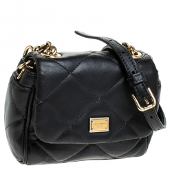 Dolce & Gabbana Black Quilted Leather Mini Kate Crossbody Bag