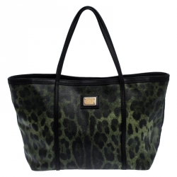 Dolce and Gabbana Green/Black Leopard Print Coated Canvas Tote