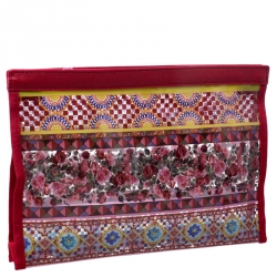 Dolce & Gabbana Multicolor PVC and Leather Pouch
