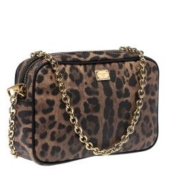 Dolce and Gabbana Beige Leopard Print Coated Canvas Crossbody Bag