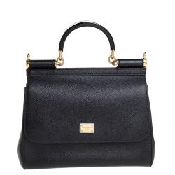 Dolce & Gabbana Black Leather Medium Miss Sicily Top Handle Bag