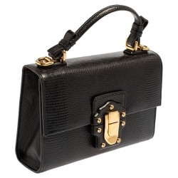 Dolce & Gabbana Black Lizard Embossed Leather Lucia Top Handle Bag