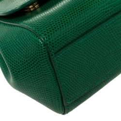 Dolce and Gabbana Green Lizard Embossed Leather Small Miss Sicily Top Handle Bag