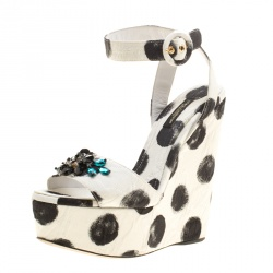 58ffacbd764c2d Dolce and Gabbana Polka Dot Canvas Bianca Crystal Embellished Wedge Sandals  Size 37.5