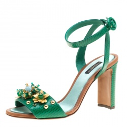 34fd0a6c5609 Dolce and Gabbana Green Lizard Embossed Leather Embellished Ankle Strap  Sandals Size 40
