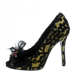 Dolce and Gabbana Yellow/Black Satin and Lace Crystal Embellished Peep Toe Pumps Size 36