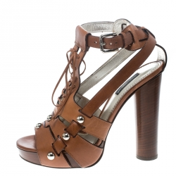 6024f95d5ce Dolce and Gabbana Brown Leather Stud Detail Ankle Strap Platform Sandals  Size 38
