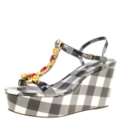 Dolce and Gabbana Monochrome Checkered Print Patent Leather Gingham Crystal  Embellished T Strap Wedge Sandals Size ba16396027644