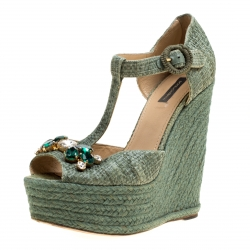 9bc8a0516a8a47 Dolce and Gabbana Green Raffia Bianca Crystal Embellished Espadrille Wedge  Sandals Size 38