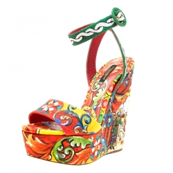 pretty nice 76a1e 67d97 Dolce and Gabbana Multicolor Printed Brocade Peep Toe Ankle Wrap Wedge  Sandals Size 37.5