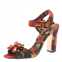 25bec1c50 Dolce & Gabbana Multicolor Floral Printed Fabric Crystal Embellished Ankle  Strap Sandals Size 36