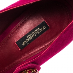 Dolce&Gabbana Pink Suede Embellished Heel Mary Jane Pumps Size 40