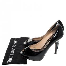 Dolce & Gabbana Black Patent Leather Platform Peep Toe Pumps Size 39