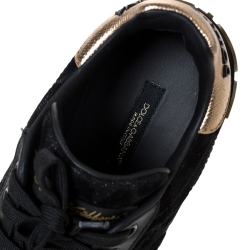 Dolce & Gabbana Black Leopard Print Fabric And Leather Portofino Low Top Sneakers Size 38.5