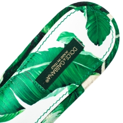 Dolce & Gabbana Green/White Banana Leaf-Print Fabric Crystal Embellished Flat Sandals Size 38