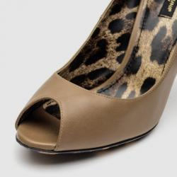 Dolce & Gabbana Brown Leather Peep Toe Pumps Size 38