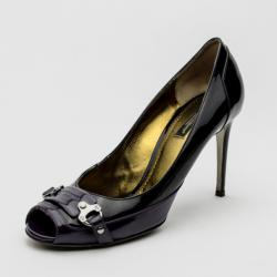 Dolce and Gabbana Purple & Black Leather Peep Toe Buckle Pumps Size 39