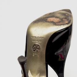 Dolce and Gabbana Black Patent Vernice Cut Out Slingback Sandals Size 37.5