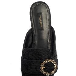 Dolce and Gabbana Black Brocade Jackie Crystal Embellished Flat Mules Size 39