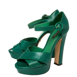 Dolce & Gabbana Green Lizard Embossed Leather Cross Strap Platform Sandals Size 38