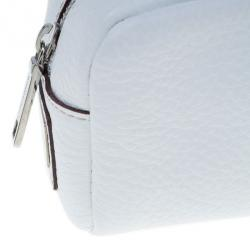 Dolce and Gabbana White Pebbled Leather Cosmetics Case