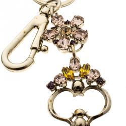 ميدالية مفاتيح دولتشي أند غابانا مرصعة كريستال ذهبية