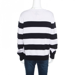 Dries Van Noten Monochrome Striped Cotton Rib Knit Jaimin Sweater L