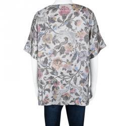 Dries Van Noten Grey Floral Printed Silk Short Sleeve Top L