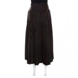 Dries Van Noten Olive Green and Burgundy Silk Brocade Pleated Skirt L