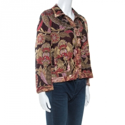 Dries Van Noten Multicolor Oriental Floral Jacquard Silk Jacket  L