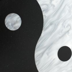 Edie Parker Black/Sliver Acrylic Yin Yang Clutch