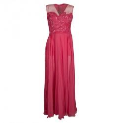 1f477f25fa8 Elie Saab Begonia Embellished Silk Sleeveless Gown S