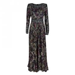 842ea0d160b Elie Saab Floral Printed Silk Lace Insert Long Sleeve Maxi Dress M