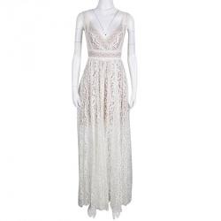 3da772e6f39 Elie Saab White Embroidered Lace Sleeveless Maxi Dress S