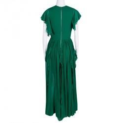 فستان سهرة إيلي صعب حرير شيفون أخضر أكمام مكشكشة S